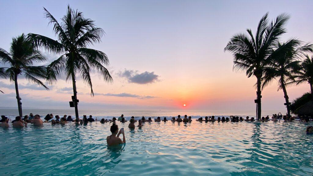 coconut palms and swimming pool facing ocean